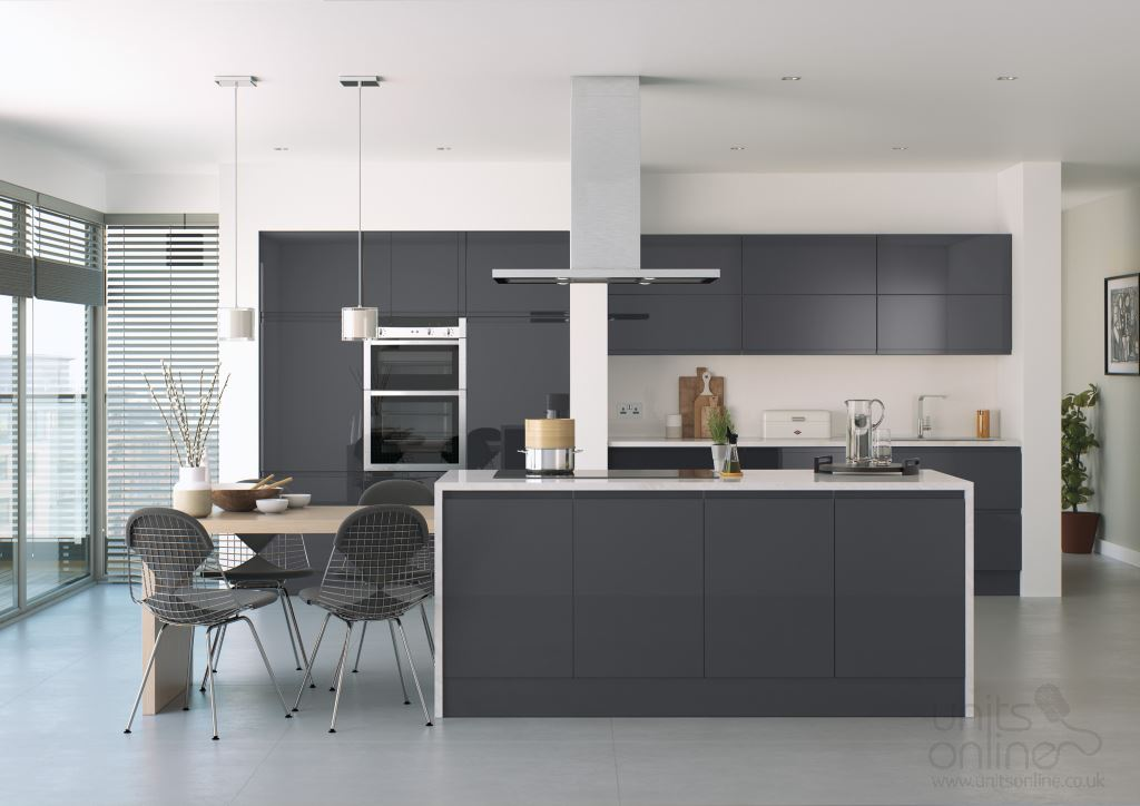 Lucente gloss anthracite handleless kitchen