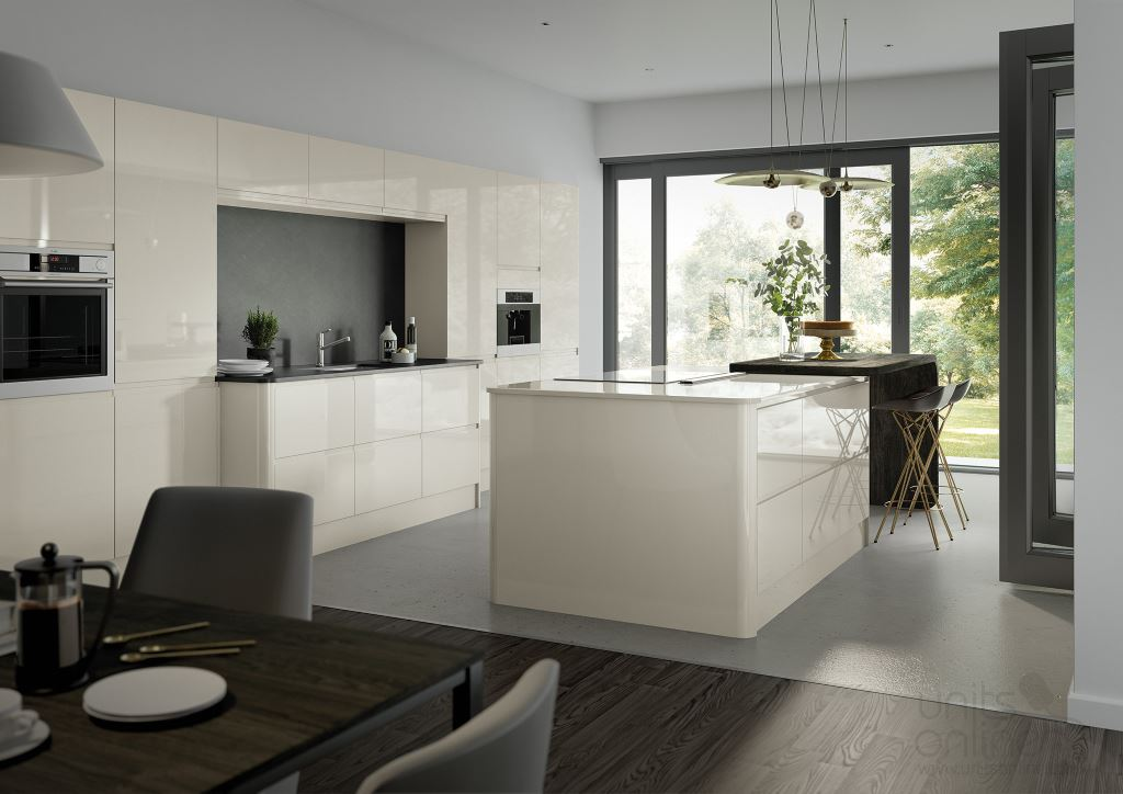 Lucente gloss porcelain handleless kitchen