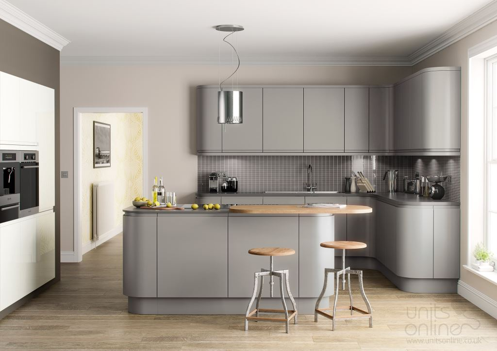 Lucente matt painted kitchen silver grey