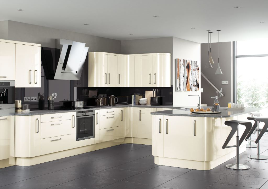 Lusso gloss cream kitchen