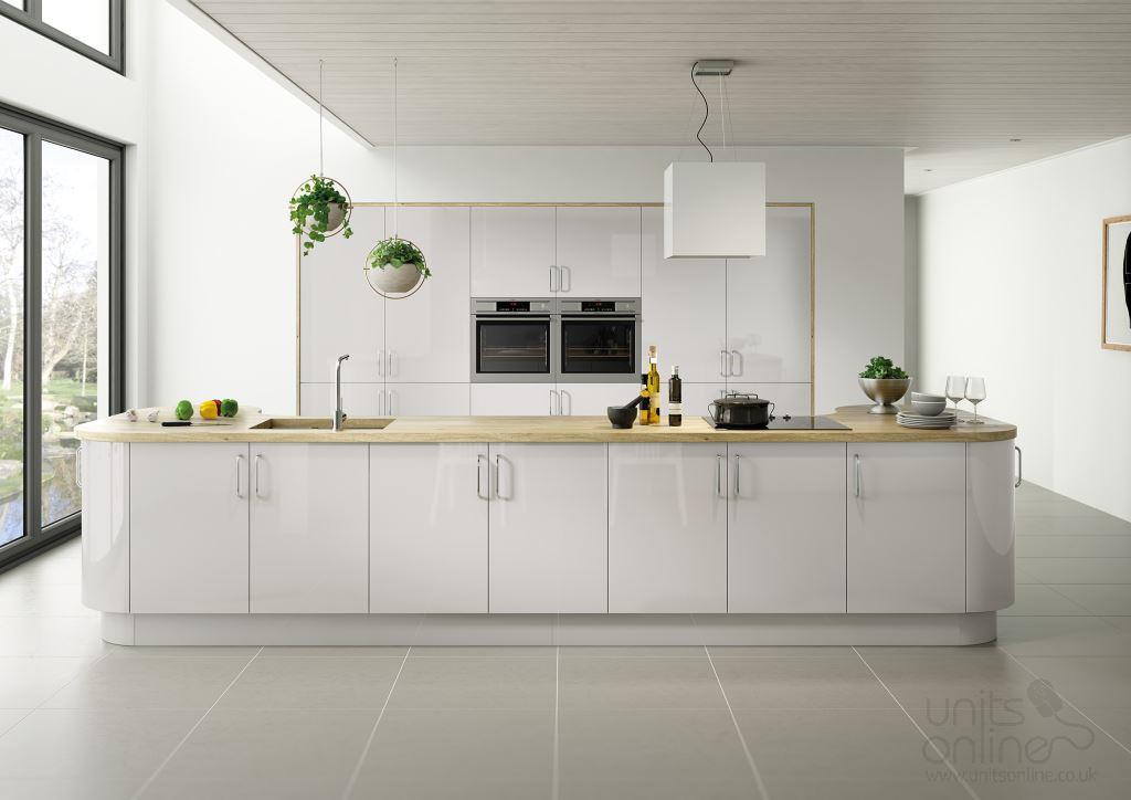 Lusso gloss light grey kitchen