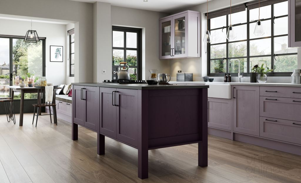 Aldana painted shaker kitchen Deep Heather and Lavender Grey
