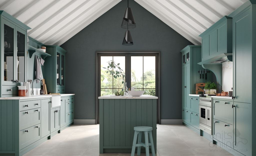 Aldana painted shaker kitchen Viridian