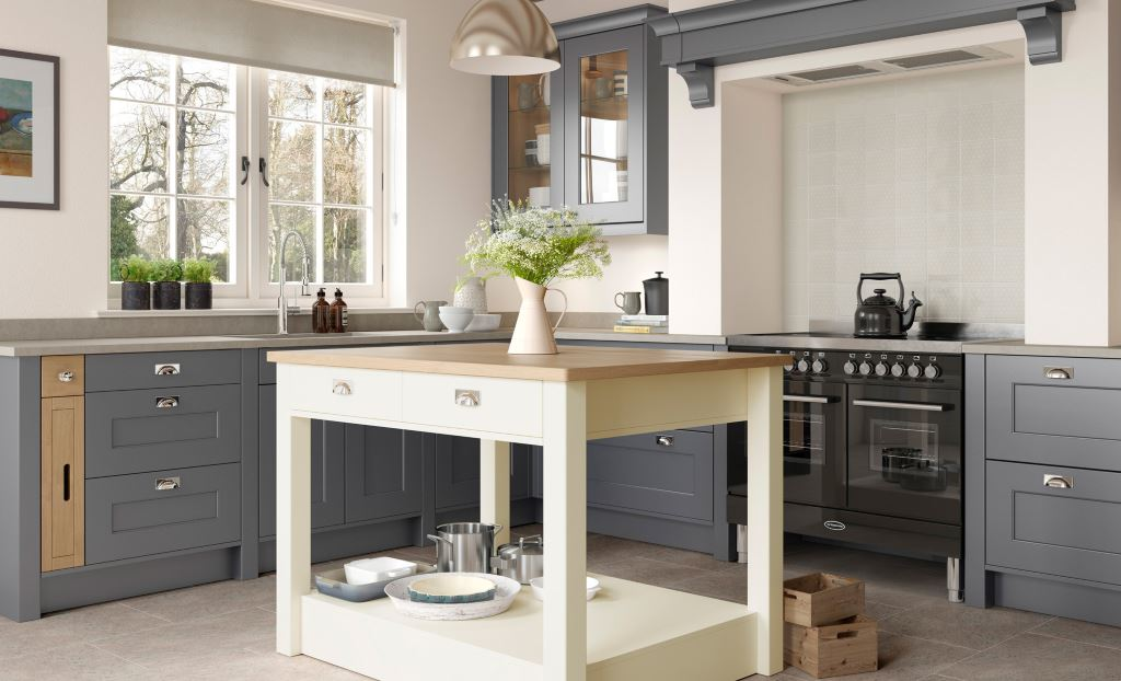 Florence shaker dust grey handleless kitchen
