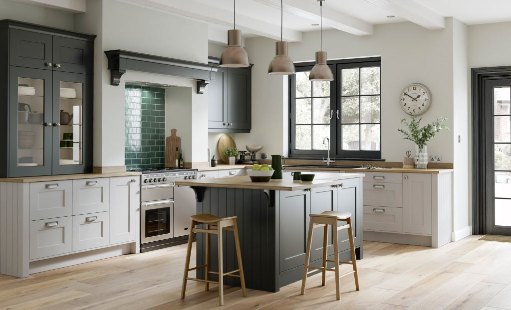 Florence shaker graphite handleless kitchen
