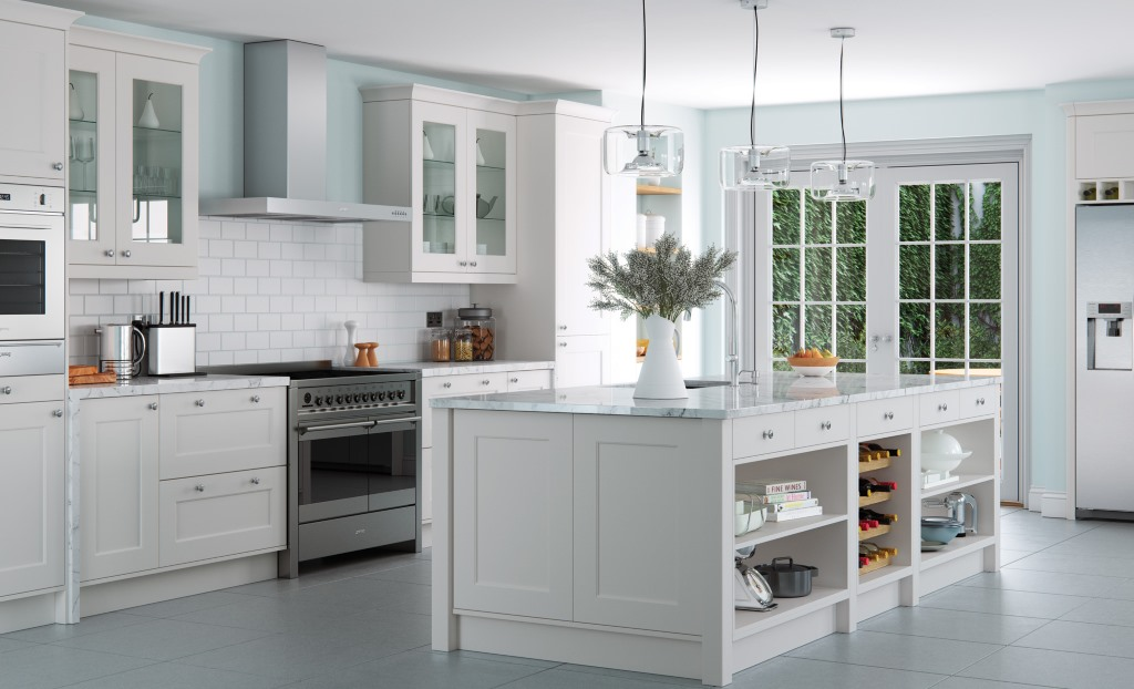 Florence shaker light grey handleless kitchen