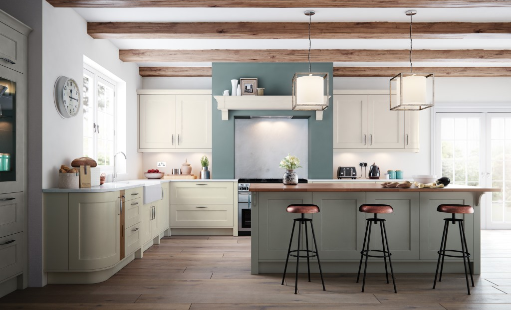 Florence shaker porcelain handleless kitchen