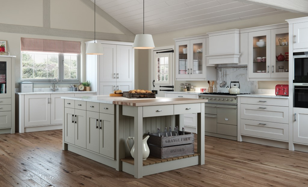 Florence shaker stone handleless kitchen
