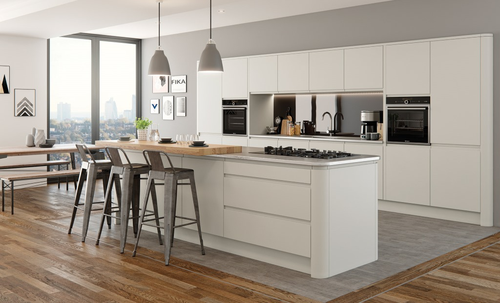 Strada matt painted kitchen in porcelain