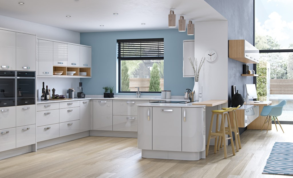 Zola gloss light grey kitchen