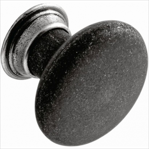 PWS - Knob, 32mm Diameter, With Pewter Effect Back Plate