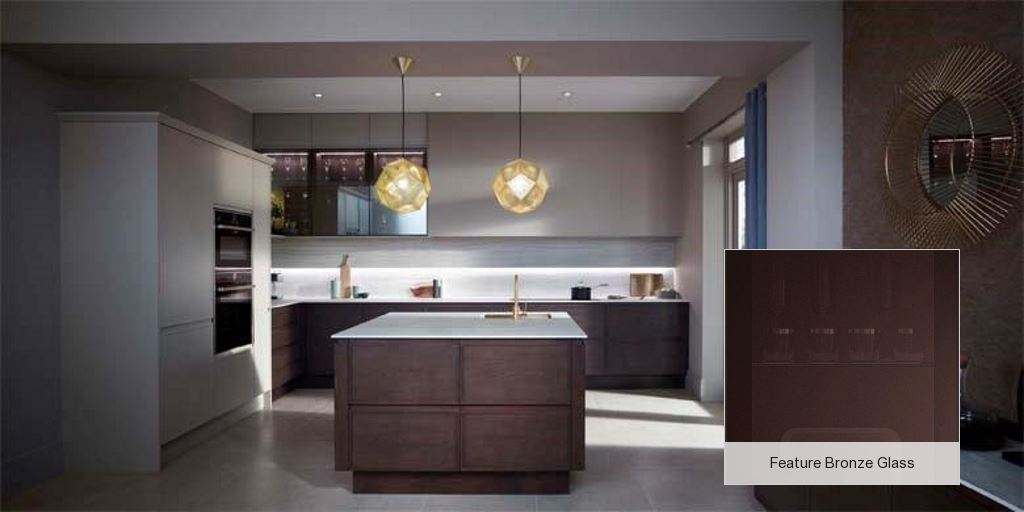 Feature slab kitchen bronze glass