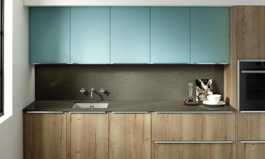 Feature slab kitchen chalk blue