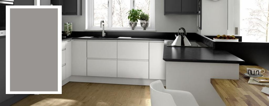 Remo matt silver grey handleless kitchen from Second Nature