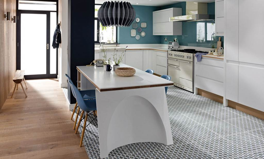 Remo matt white handleless kitchen from Second Nature