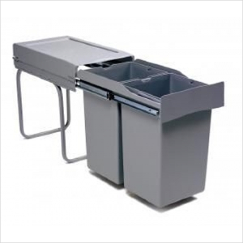 Fitted Bins - Pull-Out Waste Bin, 2 x 14 Litre, Full Extension Runners