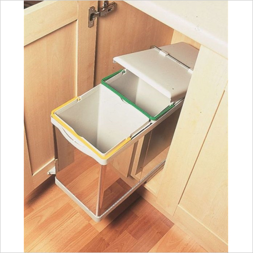Fitted Bins - Automatic Pull-Out Double Bin, 28 Litre